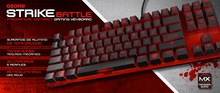 Ozone Strike Battle Red - Cherry MX Red Mechanical Switch